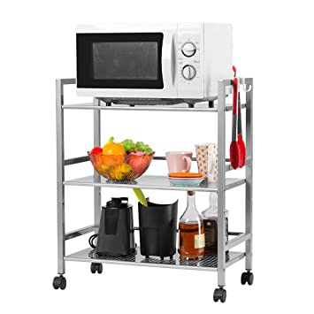 Amazon.com - LANGRIA 3-Tier Wire Mesh Rolling Cart for Serving ...