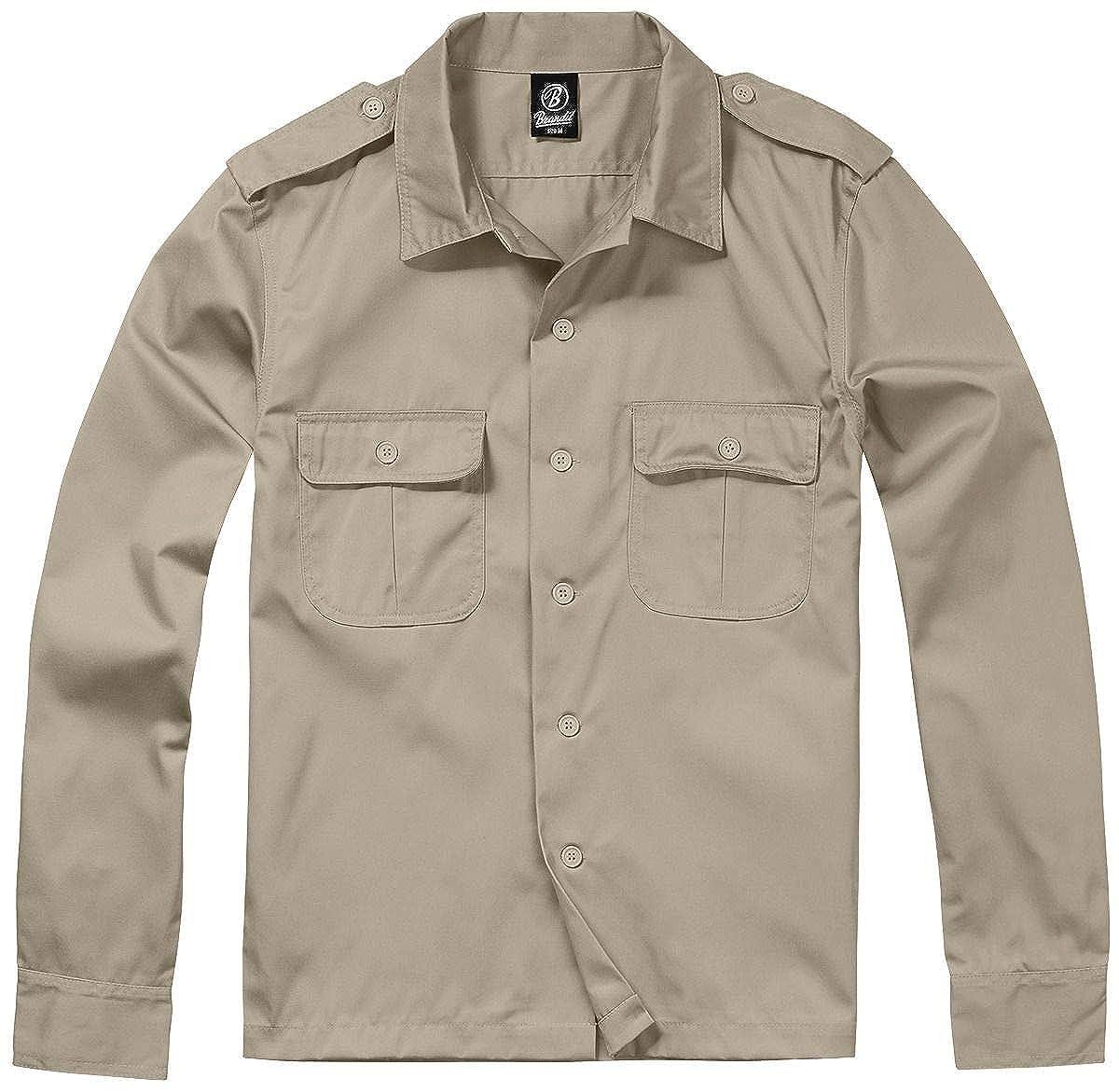 TALLA XXX-Large. Brandit Camisa Manga Larga US Camisa Beige
