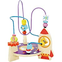 MagiDeal Space Ship Wooden Beads Metal Roller Coaster Full Along Cart Kids Baby Educational Toy Color & Shape Cognition