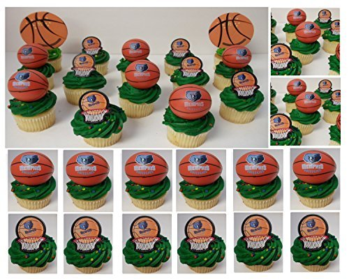 MEMPHIS GRIZZLIES 14 Piece NBA Basketball Birthday Party Cupcake Topper Set - Includes All Cupcake Toppers and Accessories Shown in Photo