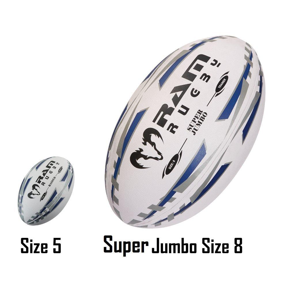 Pelota de rugby – Ram Rugby – Super Jumbo pelota de rugby – Tamaño 8 – 66 cm – Novedad pelota de rugby – ideal para premios, pantallas y promociones