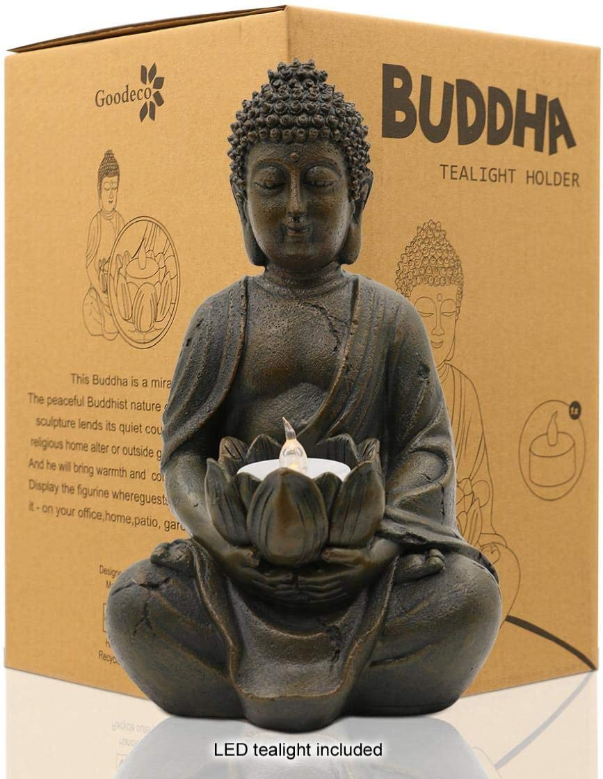 """Meditating Buddha Statue Figurine Sitting Sculpture Decoration 8"""" Tealight Holder/Candle Holder for Home, Garden, Patio with a LED Tea Light, Polyresin, Antique Bronze Look(1 Pack)"""