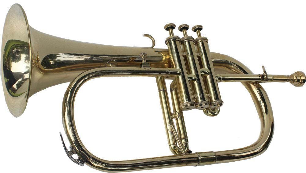 Shreyas Great Value 3-Valve Bb Natural Brass Flugel Horn Flugelhorn with Designer Hardcase VTR156 by SHREYAS (Image #2)