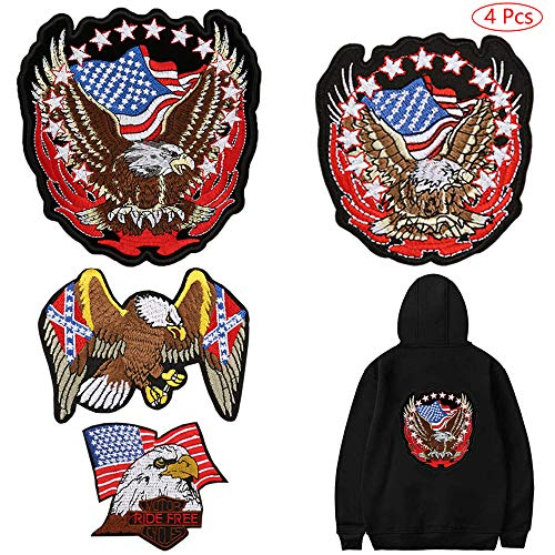- American Flag Bald Eagle Iron on Patches Cool Embroidered Applique Sew on Patches Cool Biker Motorcycle Vest Jackets Backpack Patches