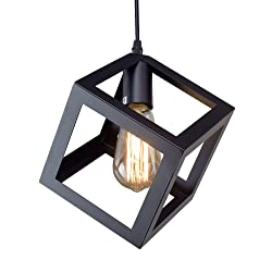 LNC Square Pendant Lighting Ceiling Lights Hanging Lamp Light Fixtures for Living Room, Dining Room, Bedroom, Kitchen Island