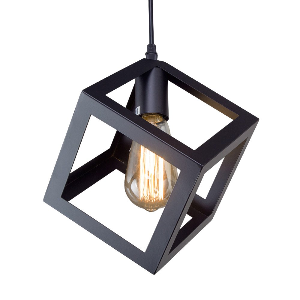 LNC A01974 Square Hanging Lamp Light Living, Dining Room, Bedroom, Kitchen Island Ceiling Pendant Fixtures, Black