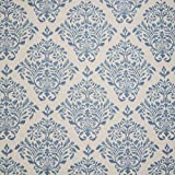 Azure Blue Contemporary Ikat Medallion Cotton Print Upholstery Fabric by the yard discount price 2017
