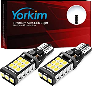 Yorkim 921 LED Bulb 912 Backup Light Bulbs High Power 2835 21-SMD Chipsets Extremely Bright Error Free T15 906 904 902 W16W 921 912 Reverse Lights, 6000K White, Pack of 2