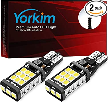 Yorkim 921 LED Bulb 912 led reverse lights High Power 2835 21-SMD Chips Extremely Bright Error Free T15 led bulb Backup Light Bulbs 906 904 902 W16W 921 bulb 912 Reverse Lights, 6000K White, Pack of 2