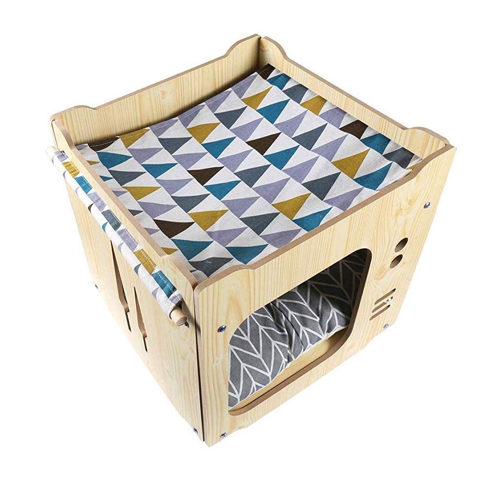 Balacoo Cat Bed Detachable Building Block Style Kitten House with Thick Cushion Pet Supplies (Cushion Style Random)