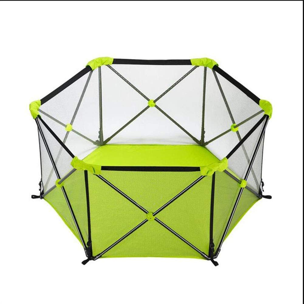 MUMA Baby Playpen Portable, Fence for Babies, Hexagonal Infant Safety Play Yard, with Storage Bag, Durable Fold Household Toys House (Color : Green) by MUMA