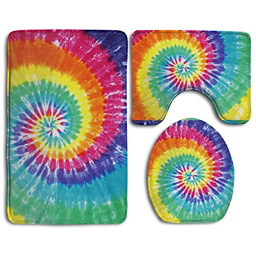 e 3 Pcs Bathroom Rug Non-Slip Bath Mat Lid Cover+Lid Cover+ Bath Rug Set (Dye Slip)