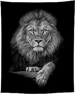 Jaye Black and White Lion Tapestry,Animal Lion Tapestry,51''x59'' Lion Tapestry Wall Hanging for Home Office.