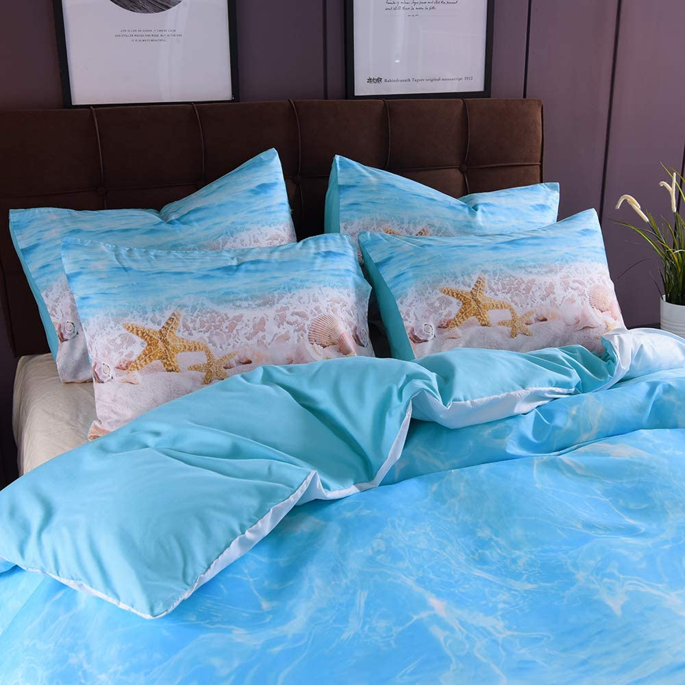 Bedler Juego de Cama Funda de Almohada Beach Starfish Funda de Cama S/ábana Suave y c/ómoda 2//3 Piezas Juego de Cama de 3 Piezas con 2 Almohadas
