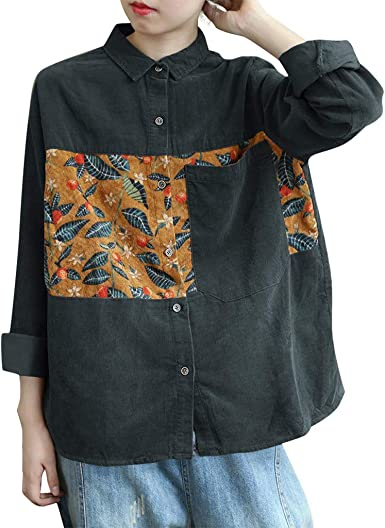 Velvet Button Top  Vintage 90s Floral Colorful Long Sleeve Shirt  Blouse Size Large