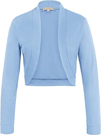 Kate Kasin Women's Long Sleeve Shrug Bolero Open Front Cotton Cardigan KK823