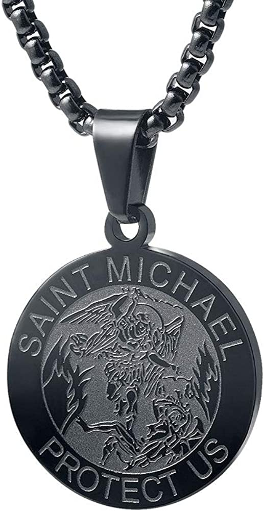 Sterling Miraculous Quarter Round Medal 24 Stainless Steel Chain
