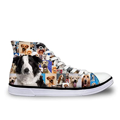 HUGSIDEA Border Collie Print Cute Canvas Shoes Fashion Casual High Top  Sneakers US5