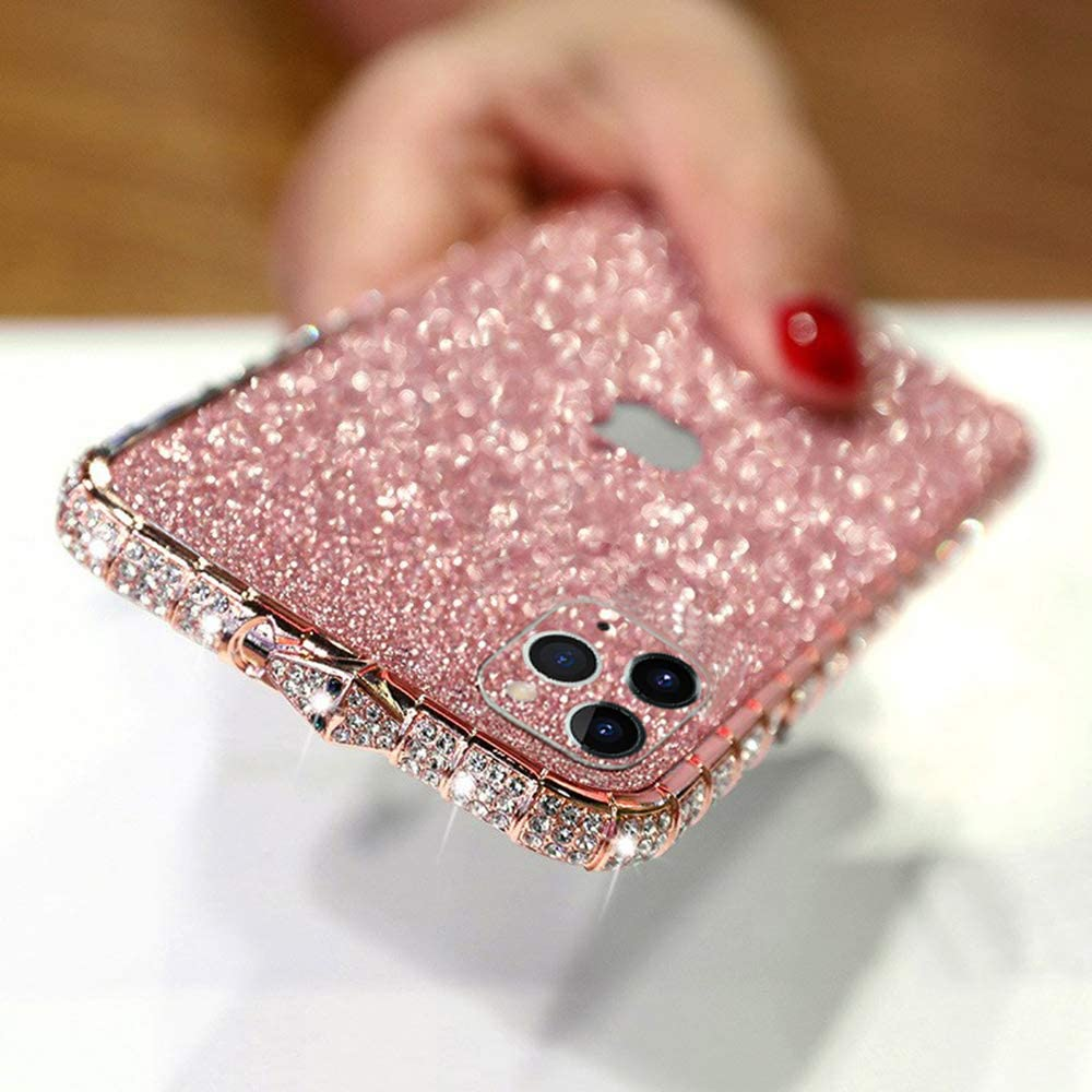 LUVI for iPhone 11 Pro Max Glitter Sticker Case Bling Diamond Rhinestone Crystal Metal Bumper Frame Case Edge Protective Cover Shiny Sparkle Skin Cute Luxury Fashion for iPhone 11 Pro Max Rose Gold