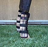 Kensington Horse Fly Boots with Comfortable Fleece Trim — Stay-Up Technology with Velcro Straps — Protection from Insect Bites and UV Rays — Sold in Pairs of 2 (Deluxe Black Plaid)