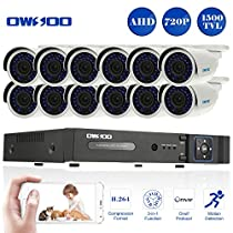 OWSOO 16 Channel H.264 HDMI Full AHD 720P DVR CCTV Network Surveillance Kit with 12x 720P 1500TVL Outdoor/Indoor Infrared Bullet Camera, Support IR-CUT Night Vision Weatherproof Plug and Play