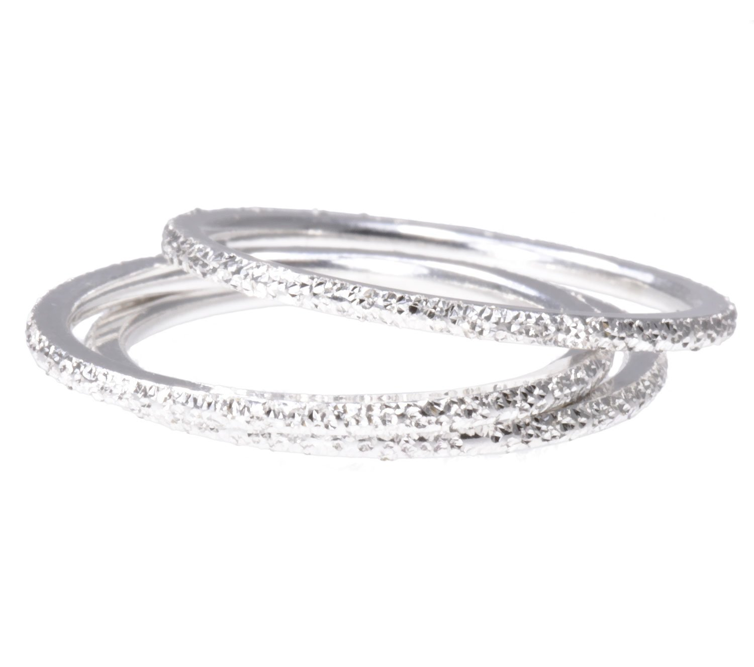 3 Sterling Silver Stardust Stacking Companion 1.2mm Rings Size 5.5
