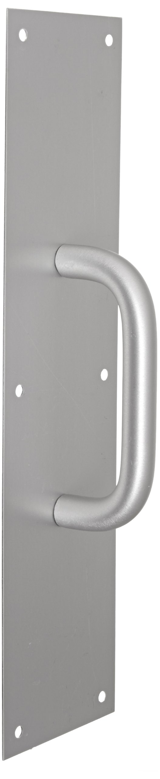 Rockwood 105 X 70C.28 Aluminum Pull Plate, 16'' Height x 4'' Width x 0.050'' Thick, 5-1/2'' Center-to-Center Handle Length, 3/4'' Pull Diameter, Clear Anodized Finish