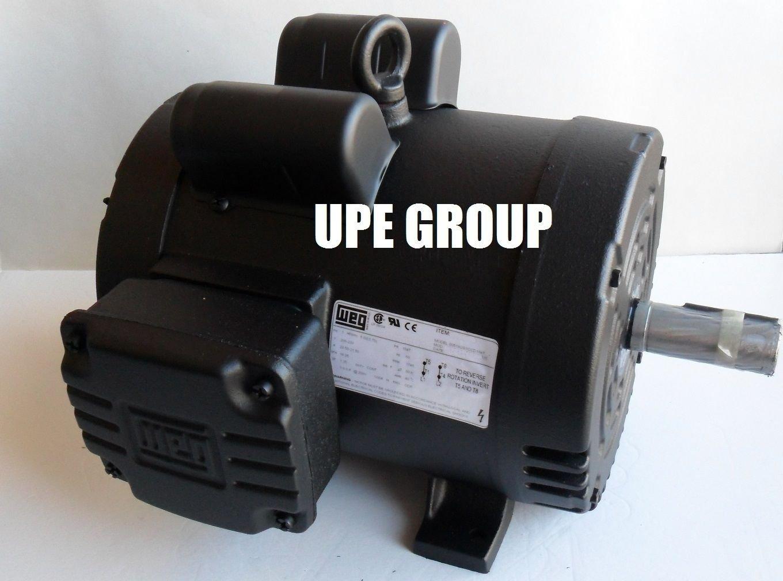 NEW 5HP 184T FRAME WEG ELECTRIC MOTOR FOR AIR COMPRESSOR 1750 RPM 230V 21.5 AMP