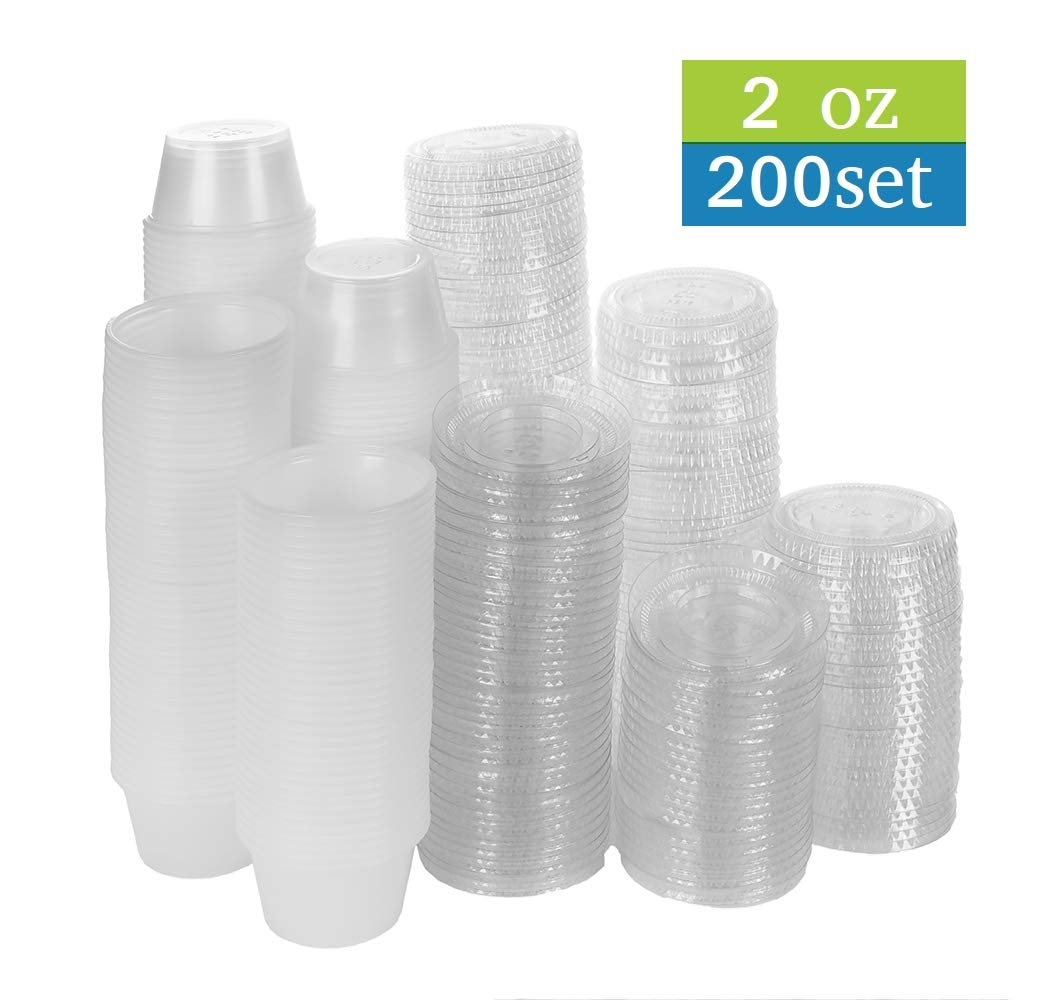 TashiBox 200 Pack of 2-Ounce Disposable Plastic Jello Shot Cups with Lids, Souffle Portion Container, 2 oz-200 Sets, Clear by TashiBox 200 Pack of 2-Ounce Disposable Plastic Jello Shot Cups with Lids, Souffle Portion Container