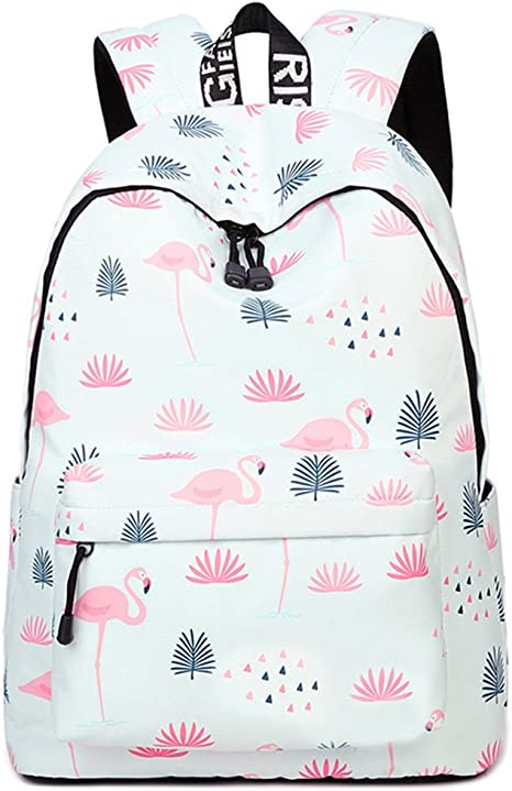 Inwagui Grand Sac d Ecole College Primaire Fille Ado Sac Dos en Polyester Backpack Cartable pour Voyages, Scolaire, Loisirs Flamingo