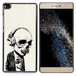 "Qstar Arte & diseño plástico duro Fundas Cover Cubre Hard Case Cover para Huawei Ascend P8 (Not for P8 Lite) (Auriculares Street Style Skull Skeleton"")"