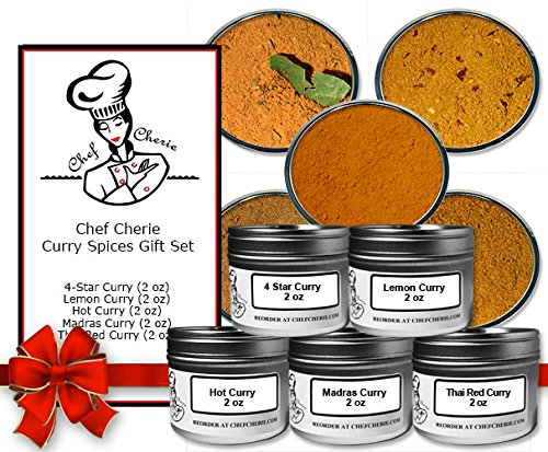 Chef Cherie's Curry Spices Gift Set - Contains 5 - 2 oz. Tins