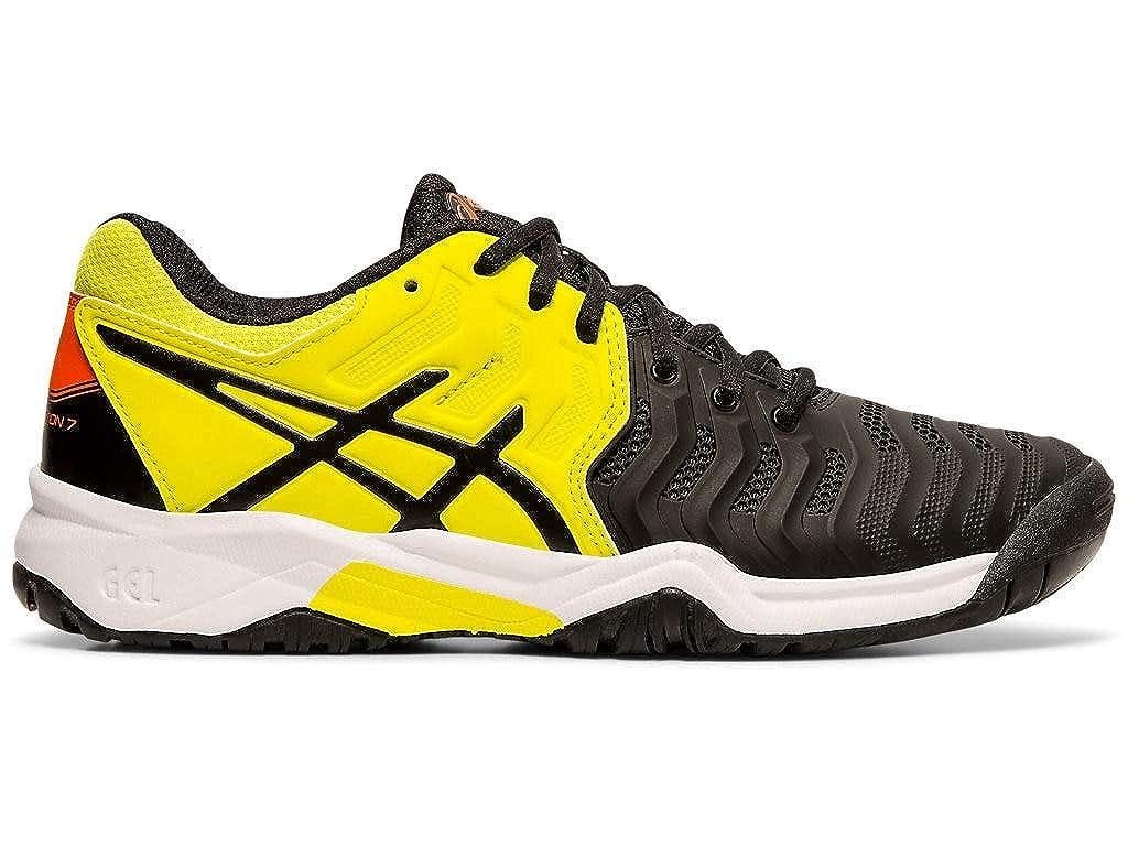 5.5M Black//Sour Yuzu Asics Kids Gel-Resolution 7 GS Tennis Shoes