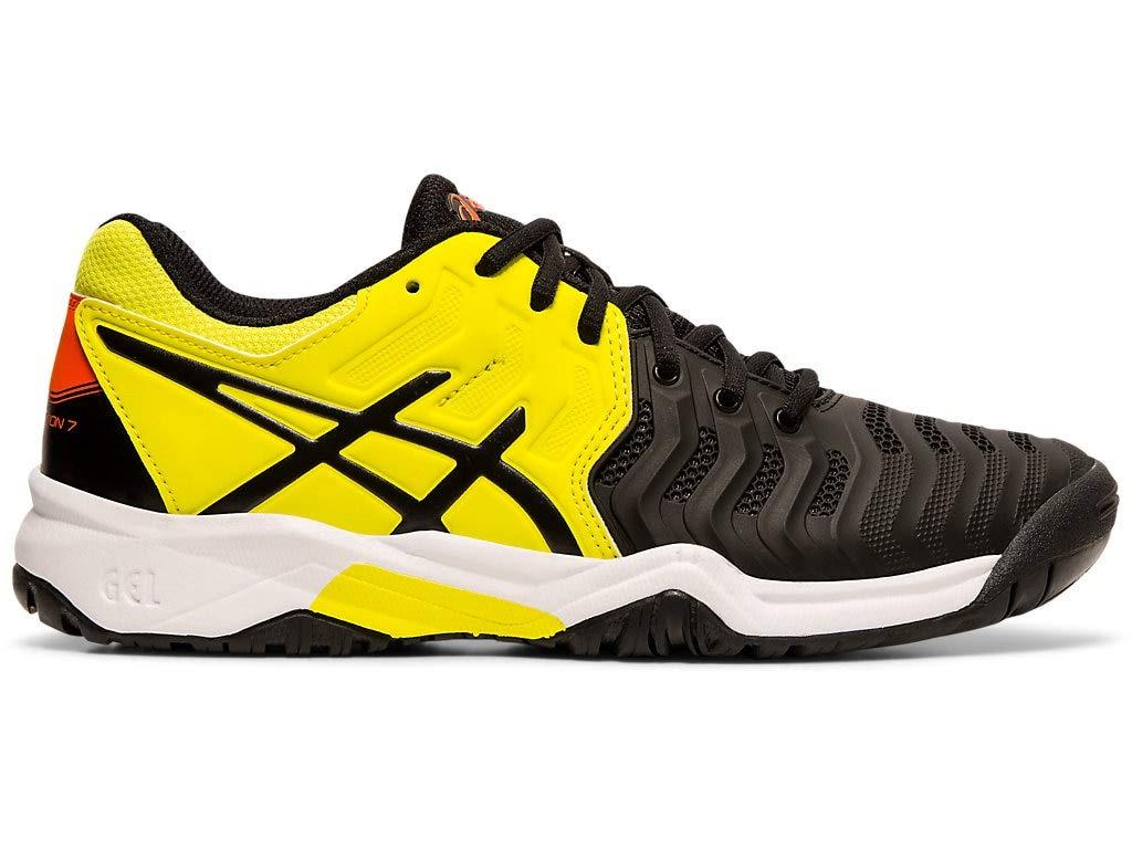 ASICS Kid's Gel-Resolution 7 GS Tennis Shoes, 2M, Black/Sour Yuzu