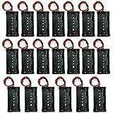 TrendBox Pack of 20pcs For 2xAA Battery 3V LR6 UM3 Black Plastic Storage Case Holder Clip Type with 6