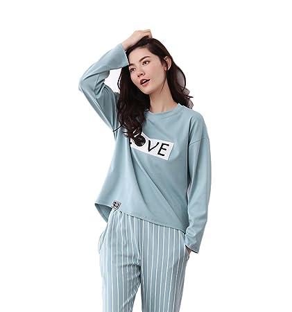 Pijamas de algodón azul otoño e invierno de las mujeres sueltos y cómodos de cuello redondo