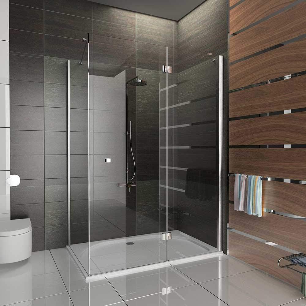 Duschkabine 80x120 cm mit Nanobeschichtung /Öffnung rechts und links Seiteneinstieg aus ESG Nano Glas und Viereck Dusche Dreht/ür von Alpenberger