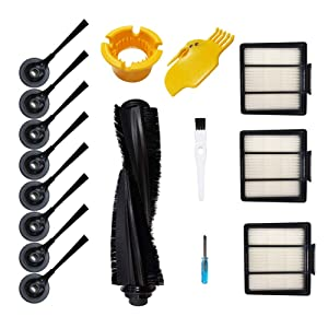 Theresa Hay 1 Main Brush & 3 Pack Hepa Filter & 8 Side Brushes Replacement for Shark ION Robot S87 R85 RV850 Vacuum Cleaner Accessories Parts