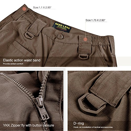 HARD LAND Men's Waterproof Tactical Pants Ripstop Cargo Work Pants with Elastic Waist for Hunting Fishing Hiking Size 38×30 Coyote Brown by HARD LAND (Image #3)