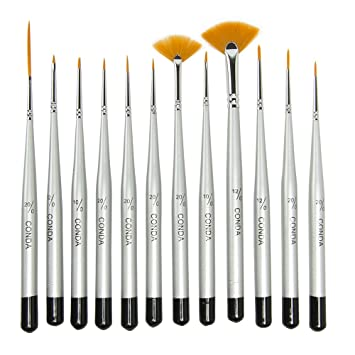 Conda Fine Detail Paint Brush Set 12 Miniature Paint Brush For