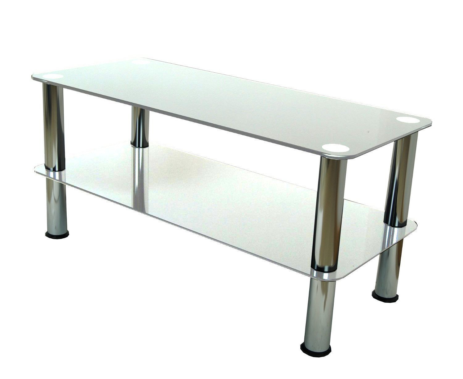 Mountright Coffee Table/TV Stand/Side Table (Black Glass - Silver Leg) UMSCT
