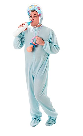 Adult Baby Grow Style Romper Suit Blue Party Fancy Dress Costume Chest up  to 46