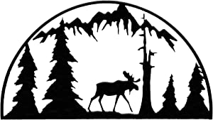 7055 Inc Rustic Elements Moose Hoop Metal Wall Art, Hammered Black