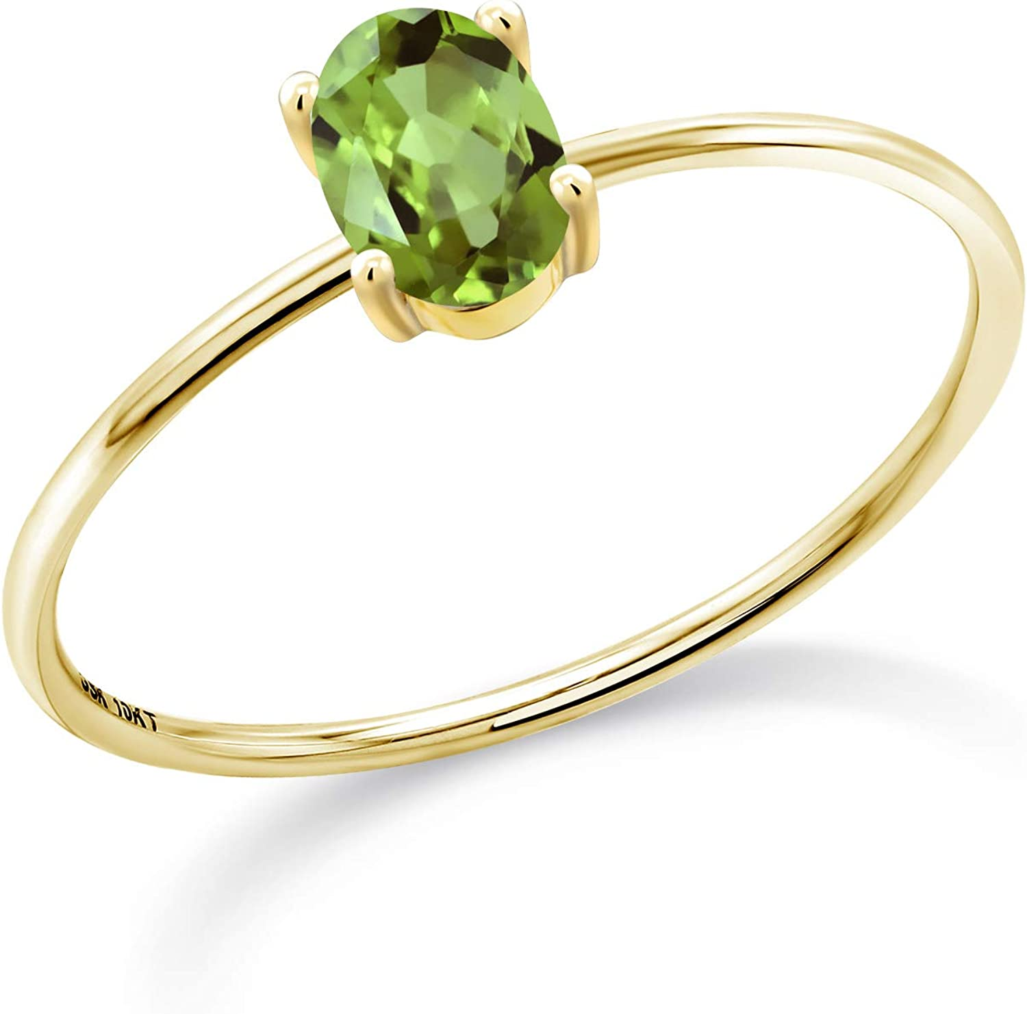 Gem Stone King 10K Yellow Gold Oval Green Peridot Women Engagement Ring (0.50 Cttw, Gemstone Birthstone, Available in size 5, 6, 7, 8, 9)