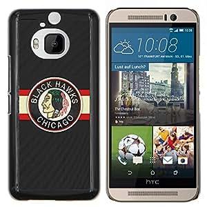 EJOOY---Cubierta de la caja de protección para la piel dura ** HTC One M9Plus M9+ M9 Plus ** --HALCÓN NEGRO ICE HOCKEY