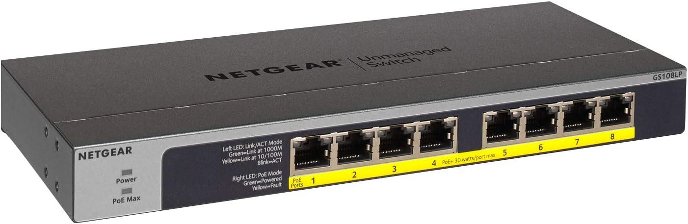 Netgear GS108LP Switch Gigabit con 8 Puertos PoE, Switch ethernet PoE de 60W actualizable, Switch PoE, Montaje sobremesa o Bastidor, Caja de Metal