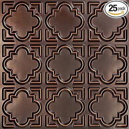 casablanca faux tin ceiling tile antique copper 25 pack - Faux Tin Ceiling Tiles
