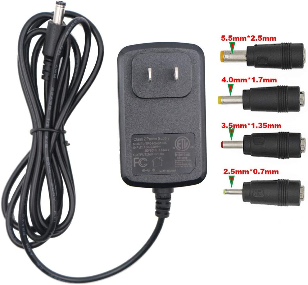 100V-240V to 24V 1A AC/DC Switching Power Supply Adapter with 4 Selectable Adapter Plugs