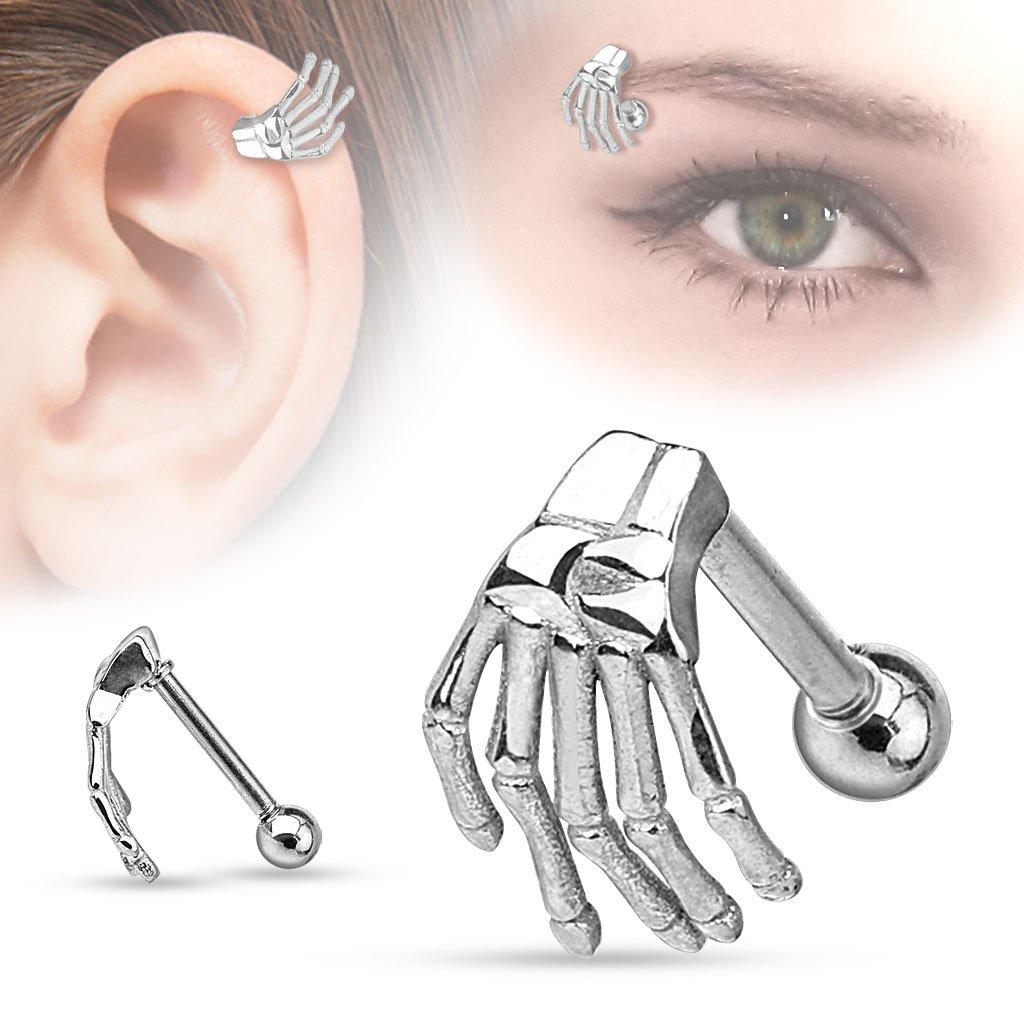 316L Surgical Steel Skeleton Hand Eyebrow//Cartilage Barbell Piercing