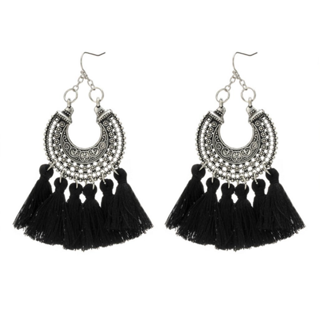 Bohemian Woven U-Shaped Flower Tassel Earrings Cashmere Handmade Earrings,Black by PG-kisseller (Image #3)